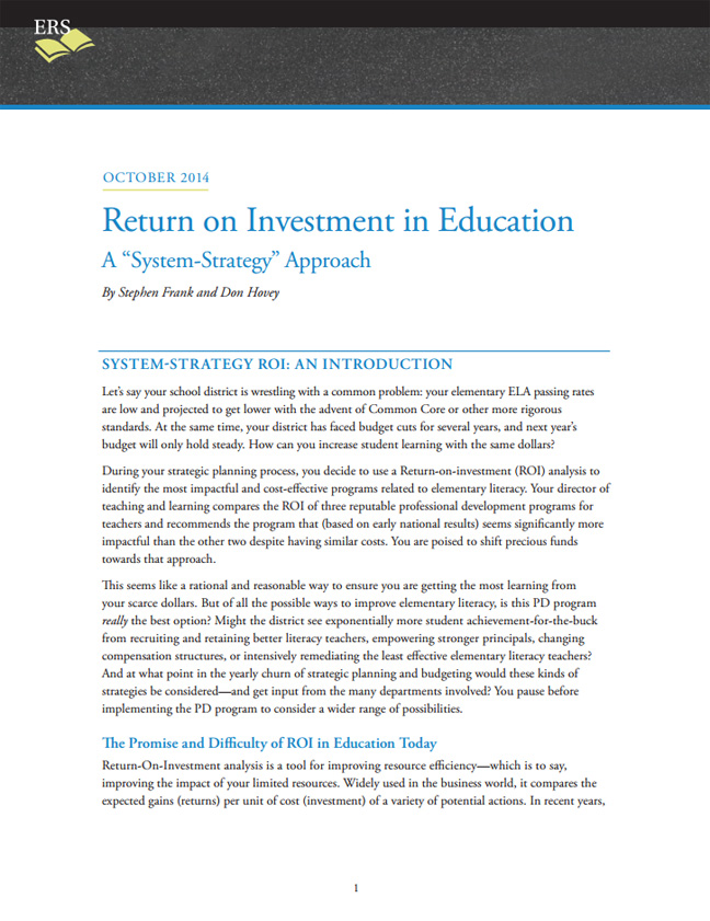 Return on Investment in Education