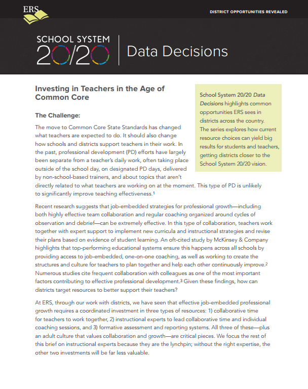 Data Decisions Brief #3: Investing in Teachers in the Age of Common Core