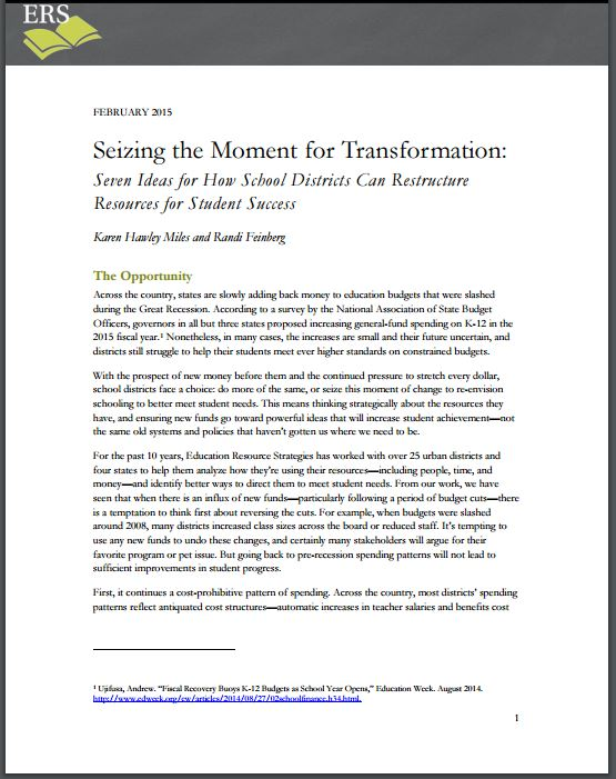 Seizing the Moment for Transformation